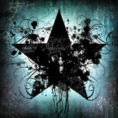 Grunge zümrüt arka plan siyah yıldız ve boya lekeleri — Stok fotoğraf