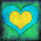 Grunge naive art heart poster — Stock Photo