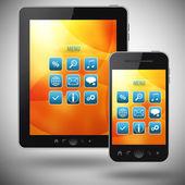 Tablet pc e celular com tela de menu vermelho sobre fundo cinza — Fotografia Stock