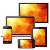 笔记本、 手机、 平板电脑和高清电视隔绝在白色背景上 — 图库照片
