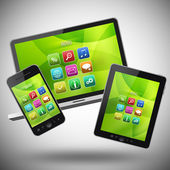 Tablet pc and digital equipment — Stock Photo