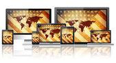 Tablet pc, mobiele telefoon, -laptops en computer — Stockfoto