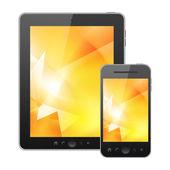 Tablet pc y teléfono móvil aisladas sobre fondo blanco — Foto de Stock