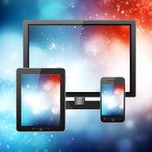 Teléfono móvil, tablet pc y ordenador — Foto de Stock