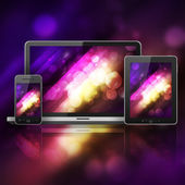 Notebook, tablet pc and mobiel phone over abstract background — Stock Photo