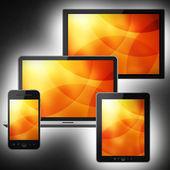 Tablet pc, cep telefonu, dizüstü bilgisayar ve bilgisayar — Stok fotoğraf