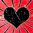 Grunge black heart background — Foto Stock