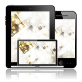 Notebook, tablet pc and mobile phone — Stock Photo