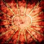 Orange grunge hearts background — Stock Photo