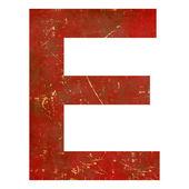 Grunge röd bokstav e — Stockfoto