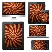 Notebook, tablet pc, teléfono móvil y ordenador — Foto de Stock