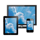 Tablet pc, mobile phone and computer — Stock Photo