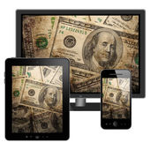 Tablet pc, mobile phone and HD TV — Stock Photo
