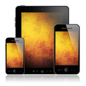 Tablet pc and mobile phones — Stock Photo