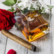 Cognac with cigar — Stock Photo