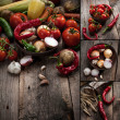 Vintage vegetables collage — Stock Photo