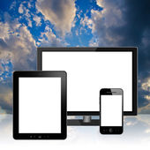 HD TV, tablet pc and mobile phone — Stockfoto