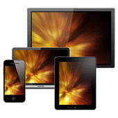 Notebook, tablet pc, telefone celular e computador — Foto Stock