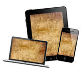 Tablet pc, mobile phone, and computer — Stock Photo