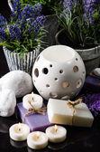 Spa bodegón con flores en macetas — Foto de Stock