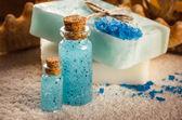Spa still life, soap and salt — Stock Photo