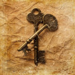 Vintage background with old keys — Stock Photo