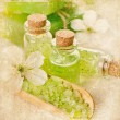 Green spa still life with glass bottles — Stok fotoğraf