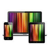 Notebook, tablet pc y teléfono móvil — Foto de Stock