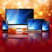 Notebook, celular, tablet pc e computador — Fotografia Stock