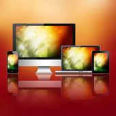 Notebook, cep telefonu, tablet pc ve bilgisayar — Stok fotoğraf