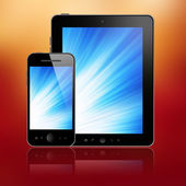 Tablet pc and mobile phone — Stock Photo