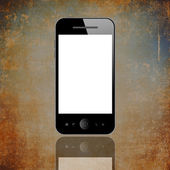 Mobile phone on brown — Stock Photo