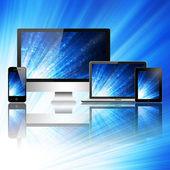 Mobiltelefon, Tabletpc, bärbar dator och dator — Stockfoto