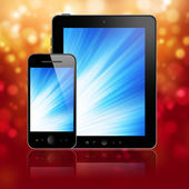 Tablet with phone on red — Stock Photo