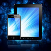 Tablet with phone on blue — Foto de Stock