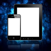 Tablet con teléfono en azul — Foto de Stock
