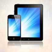 Tablet with phone on beige — Stock Photo