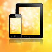Tablet with phone on yellow — Stock Photo