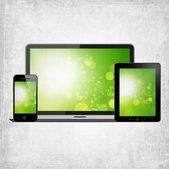 Tablet pc, mobile phone and notebook — Stock Photo