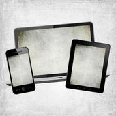 Tablet pc, mobile phone and notebook — Стоковое фото