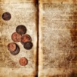 Old decrepit book with copper coins — Stock Photo #40772979