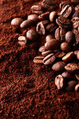 Ground coffee with coffee beans — Stock Photo