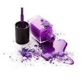 Purple nail polish with eye shadow — Stock Photo
