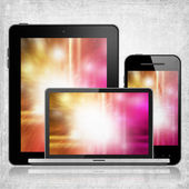 Tablet pc, laptop and mobile phone — Stock Photo