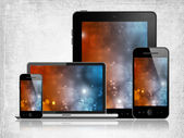 Tablet pc, laptop and mobile phones — Stock Photo