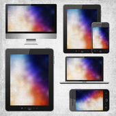 Tablet pc, mobile phone, notebook and hd tv — Stock Photo
