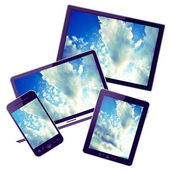 Tablet pc, laptop, hd tv and mobile phone — Stock Photo