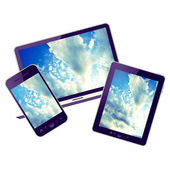 Tablet pc, hd tv and mobile phone — Stock Photo