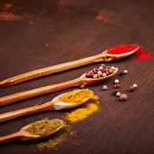 Spices on wooden spoons — Stock Photo
