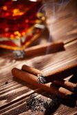 Cognac with cigars — Stockfoto